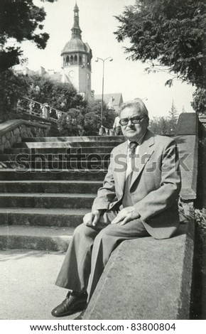 Vintage photo of a man, sixties - stock photo