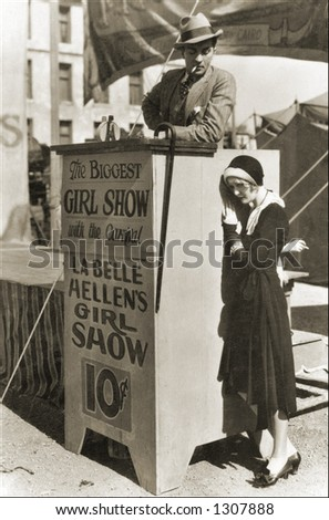 Vintage photo of a Sad Girl Getting Fired From Girl Show - stock photo