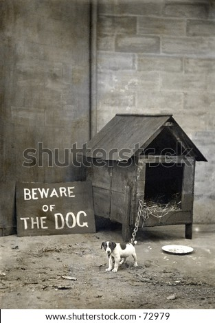 Vintage photo of a small dog with humorous sign - stock photo