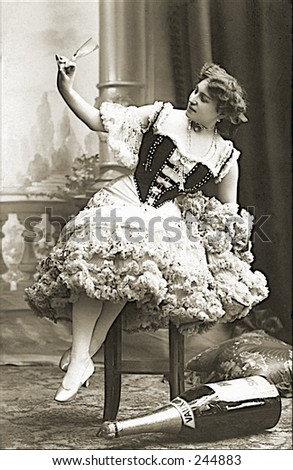 Vintage Photo of a Stage Performer With Props - stock photo