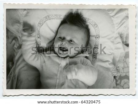 Vintage photo of baby girl - stock photo