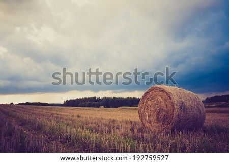 vintage photo of bale of straw on field. rural landscape - stock photo