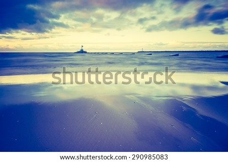 Vintage photo of Baltic sea shore seascape. Seascape photographed near Gdynia in Poland. - stock photo