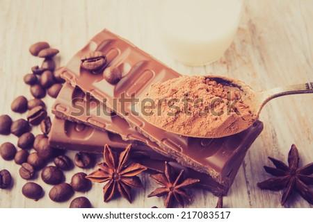 vintage photo of chocolate - stock photo