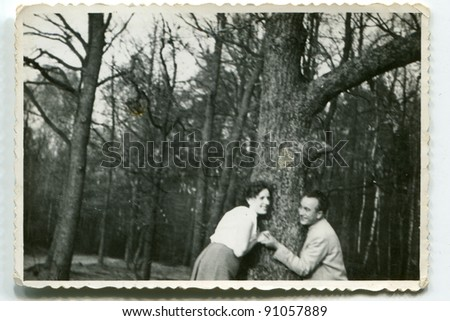 Vintage photo of couple (fifties) - stock photo