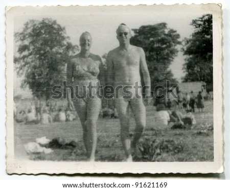 Vintage photo of couple in swimwear (fifties) - stock photo