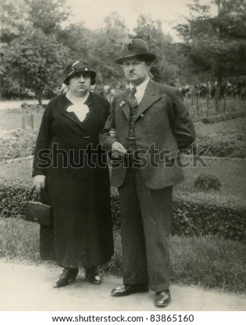 Vintage photo of  couple (thirties) - stock photo