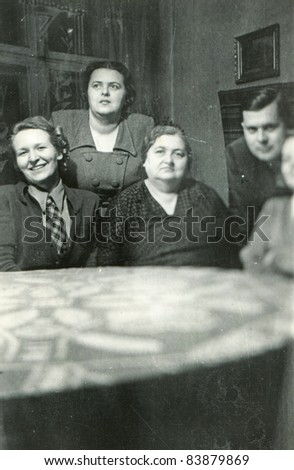 Vintage photo of family (forties) - stock photo