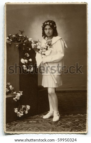 Vintage photo of first communion - stock photo