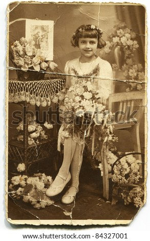 Vintage photo of girl (First communion) - thirties - stock photo