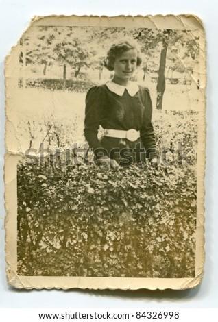 Vintage photo of girl (thirties) - stock photo