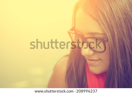 Vintage photo of hipster woman - stock photo