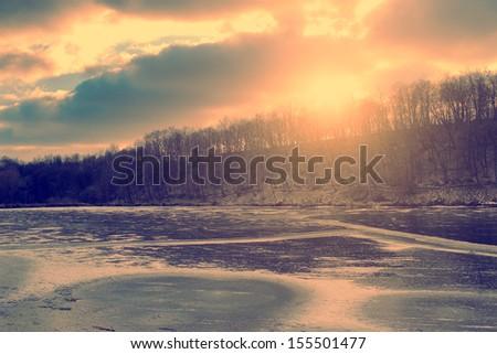 Vintage photo of idyllic winter scene - stock photo