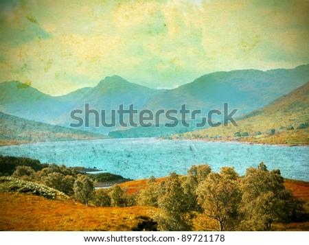 vintage photo of lake in scotland - stock photo