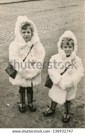 Vintage photo of little girls (fifties) - stock photo