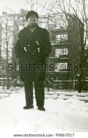 Vintage photo of man (fifties) - stock photo