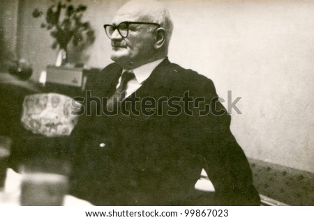 Vintage photo of man (seventies) - stock photo