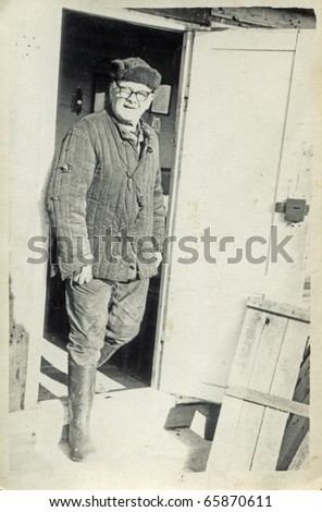 Vintage photo of man - sixties - stock photo