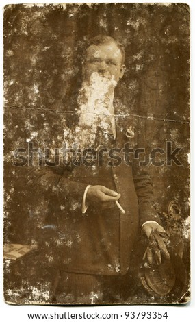 Vintage photo of man (twenties or thirties) - stock photo
