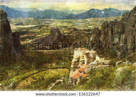 Vintage photo of Meteora monasteries, Greece - stock photo