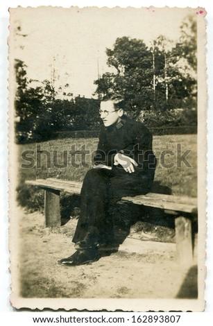 Vintage photo of monk, fifties - stock photo
