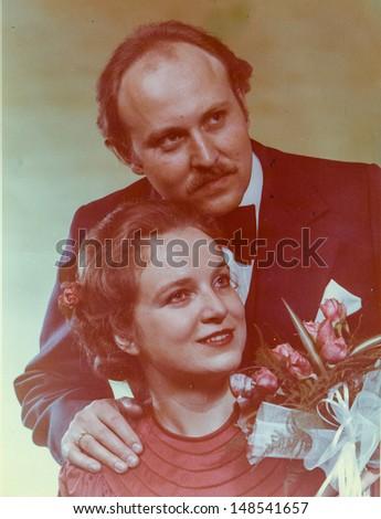Vintage photo of newlyweds, 1979 - stock photo