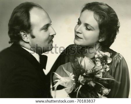 Vintage photo of newlyweds - stock photo