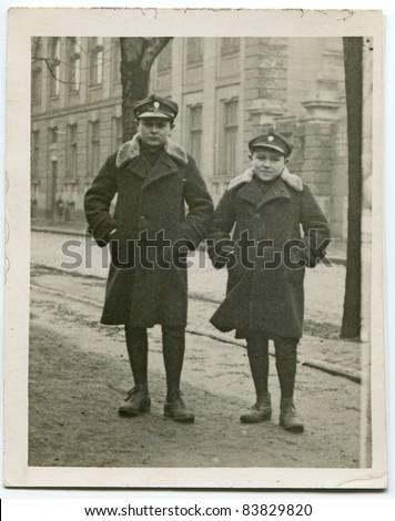 Vintage photo of schoolboys in uniforms (twenties) - stock photo