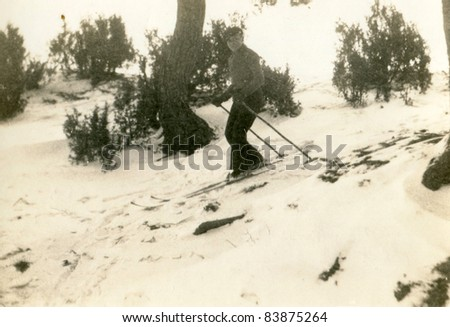 Vintage photo of skier (forties) - stock photo