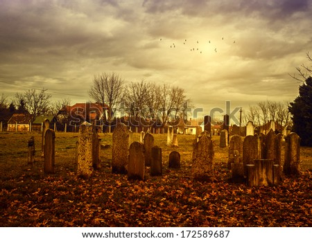 Vintage photo of spooky cemetery - stock photo