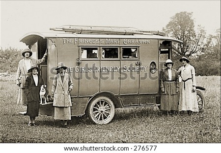 Vintage Photo of the Princess Mary Caravan of The Girls Friendly Society - stock photo