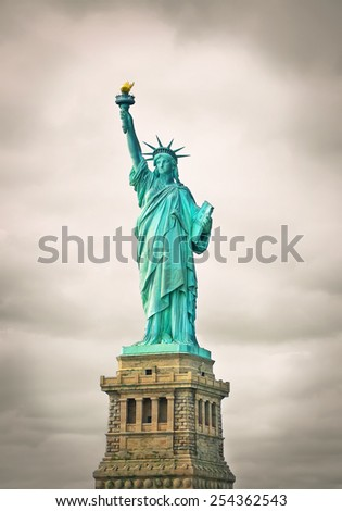Vintage photo of the Statue of Liberty in New York City - stock photo