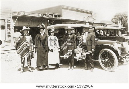 Vintage photo of  Tourists Next To Car In Tijuana - stock photo