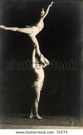Vintage photo of two gymnastic dancers, circa 1900 - stock photo