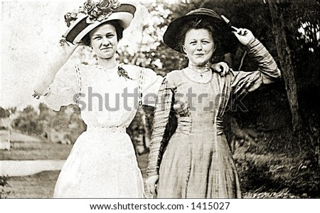 Vintage photo of Two Women Friends In Park - stock photo