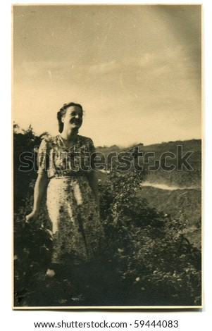 Vintage photo of woman (early fifties) - stock photo