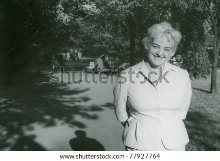 Vintage photo of woman, fifties - stock photo