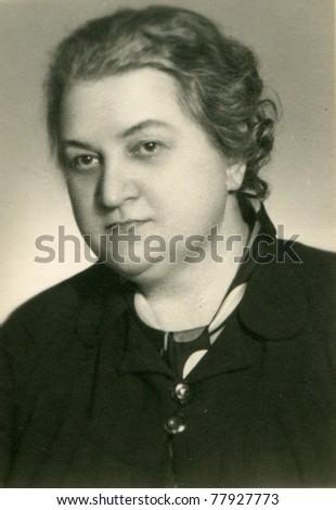 Vintage photo of woman, fifties - stock photo