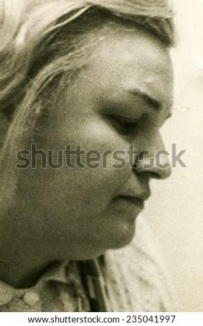 Vintage photo of woman, sixties - stock photo