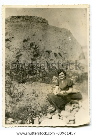 Vintage photo of woman (thirties) - stock photo