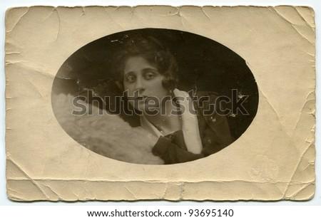 Vintage photo of woman (thirties) - stock photo