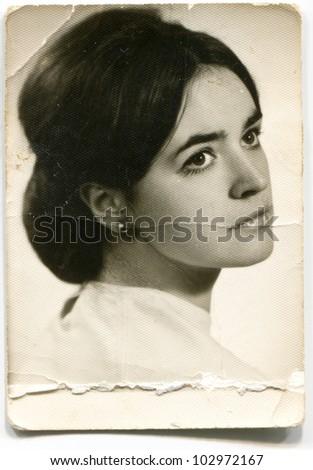 Vintage photo of young girl (sixties) - stock photo