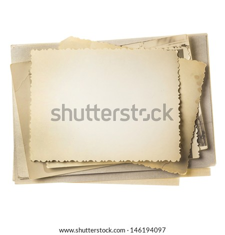 Vintage photo stack isolated on white - stock photo