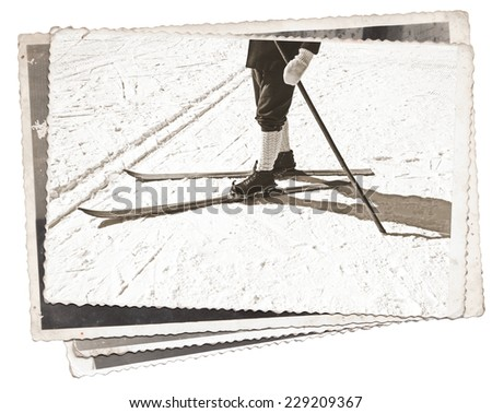 Vintage photos Old wooden skis and leather ski boots - stock photo