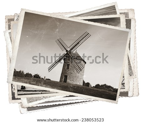 Vintage photos with Old windmill in Normandy, France - stock photo