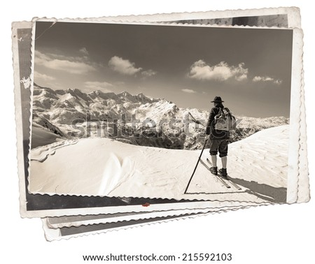 Vintage photos with skier with traditional old wooden skis - stock photo