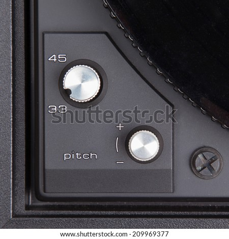 Vintage pick-up, details of an old player - stock photo