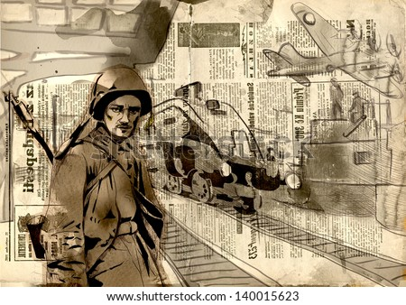 Vintage picture from the series: World between 1905-1949 /// Operation Overlord - The Western Allies - Soldier at the railway station /// Full sized hand drawing (original, old newspapers background) - stock photo