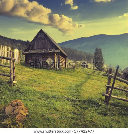 Vintage picture. Mountain village in the Ukrainian Carpathians.  - stock photo