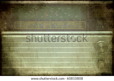 vintage picture of an 1960s old retro radio - stock photo